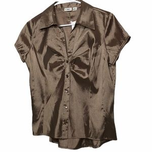 Cato Gold Short Sleeve V-neck with a Collar Blouse